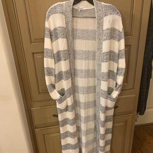 Long Cozy Striped Cardigan